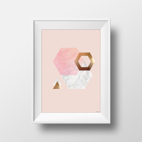 Blush Marble and Copper foil effect printable, in a gorgeous triangle and hexagon design. Hottest trends in home decor right now!  This listing is for an INSTANT DOWNLOAD of both a high print quality PDF file and High Resolution JPEG file. __________________________________________________________  Dimensions and Details: Prints in A4 or A3 size Can easily be resized and printed in smaller sizes. PDF is High Quality Print resolution JPEG is Maximum resolution at 300dpi  Q: Can I change the…