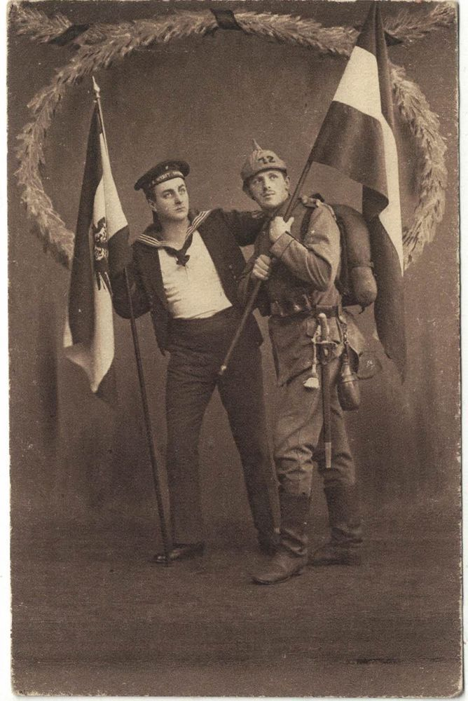 By Henry Collection Ww1 Patriotic German Postcard German Soldier Sailor And German Flag Military History World War I German Flag