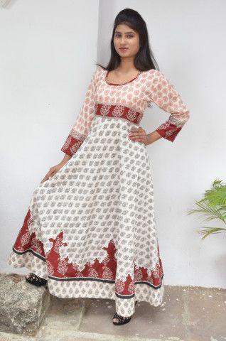 Cotton Bagh Hand Block print Long Dress