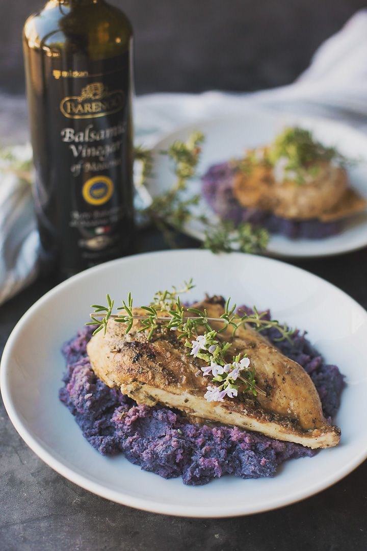 Roasted purple cauliflower & garlic mashed 'NO-TATOES' served with balsamic chicken (keto, low carb, dairy free, gluten free, nut free)