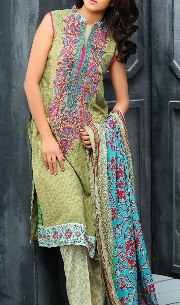 Light Green Embroidered Linen Dress Contact: (702) 751-3523  Email: info@pakrobe.com  Skype: PakRobe