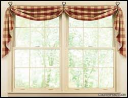 """Fishtail Curtain Swags  25"""" wide, 100% cotton, lined"""