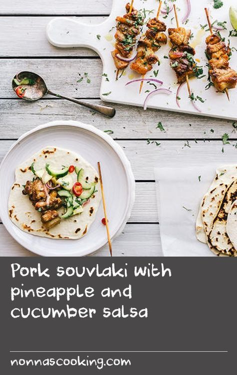 Pork souvlaki with pineapple and cucumber salsa | I have a number of souvlaki recipes on the blog, Souvlaki For The Soul: salmon souvlaki, swordfish souvlaki and lamb souvlaki. So I thought one more can't hurt! Here, pork is marinated in a dry rub of smokedSpanish paprika, ground fennel and a touch of cumin, with an added finish of coriander and freshly squeezed lime juice, and a refreshing salsa that complements the spiciness of the souvlaki perfectly. Think of this as a nice Tex-Mex and…