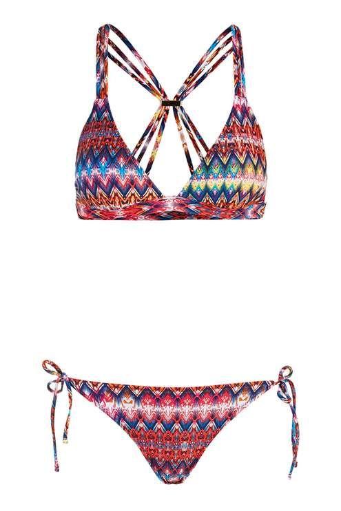 Bright Aztec Triangle Bikini Top and Bottoms