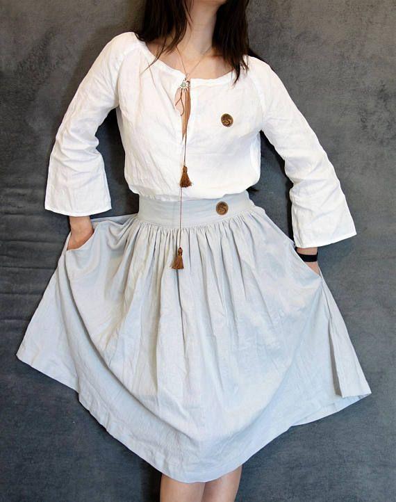 Grey Linen/Cotton Skirt Handmade Skirt Natural Fabric