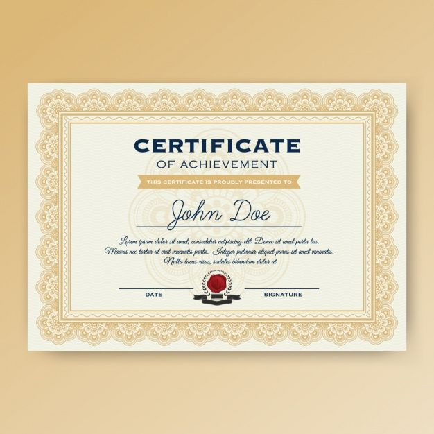 Certificate template design Free Vector