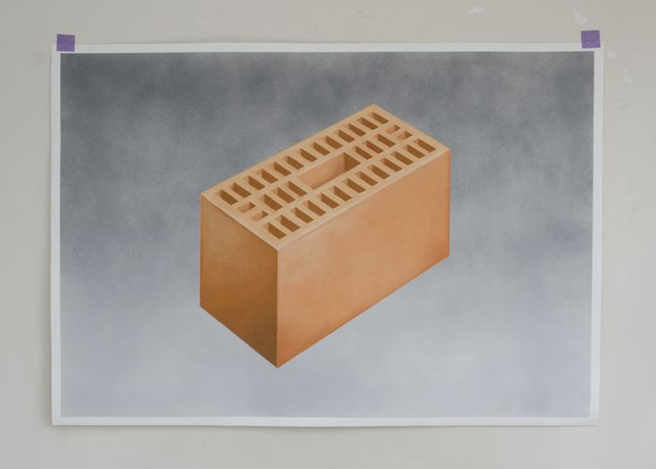 Michiel Pelerents, artist: Brick Spray paint and pastel on paper, 143x102cm.