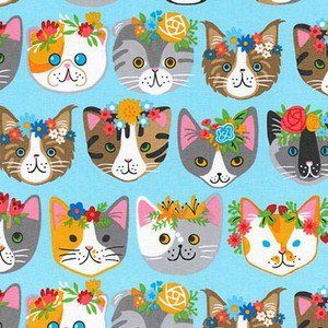 Robert Kaufman House Designer - Whiskers and Tails - Floral Cats in Blue