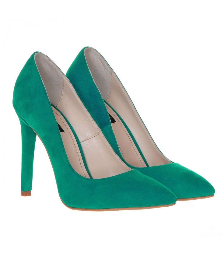 Pantofi Stiletto Piele Naturala Intoarsa Verde Smarald - Cod S231