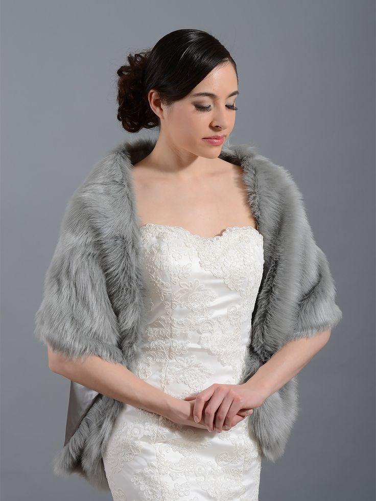 Faux fur wrap bridal shrug fw010 faux fur wrap bridal for Fur shrug for wedding dress