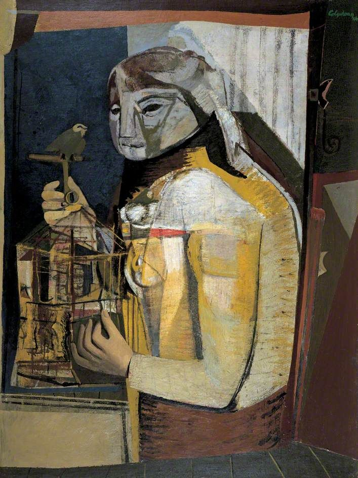 Woman with a Birdcage c.1946 by Robert Colquhoun (Scottish 1914-1962)