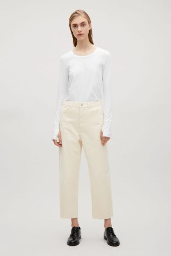 COS image 1 of Slim-fit top with thumbhole in White