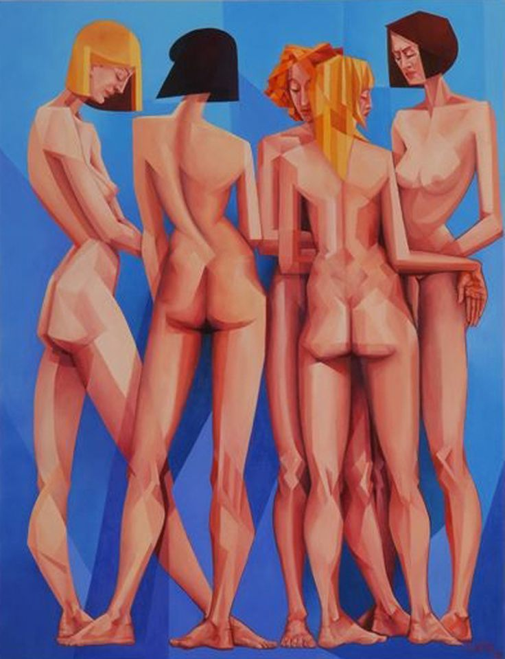 """""""Conversation"""", painting by Carlos Paes. See more of his artworks at Art Galaxie:"""