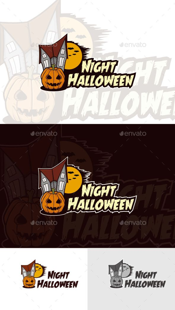 Night Halloween Logo Template — Photoshop PSD #professional #business • Available here → https://graphicriver.net/item/night-halloween-logo-template/12396783?ref=pxcr