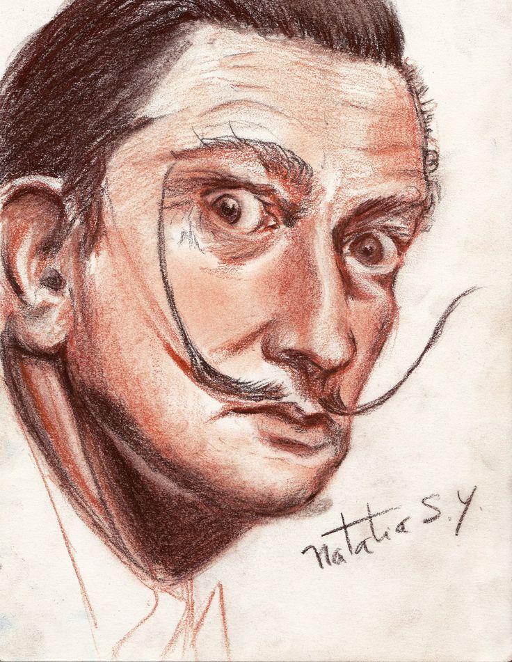 Salvador Dalí, en tonos sepia y sanguinna