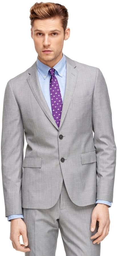 $448, Grey Blazer: Brooks Brothers Grey Sharkskin Suit Jacket. Sold by Brooks Brothers. Click for more info: https://lookastic.com/men/shop_items/214537/redirect