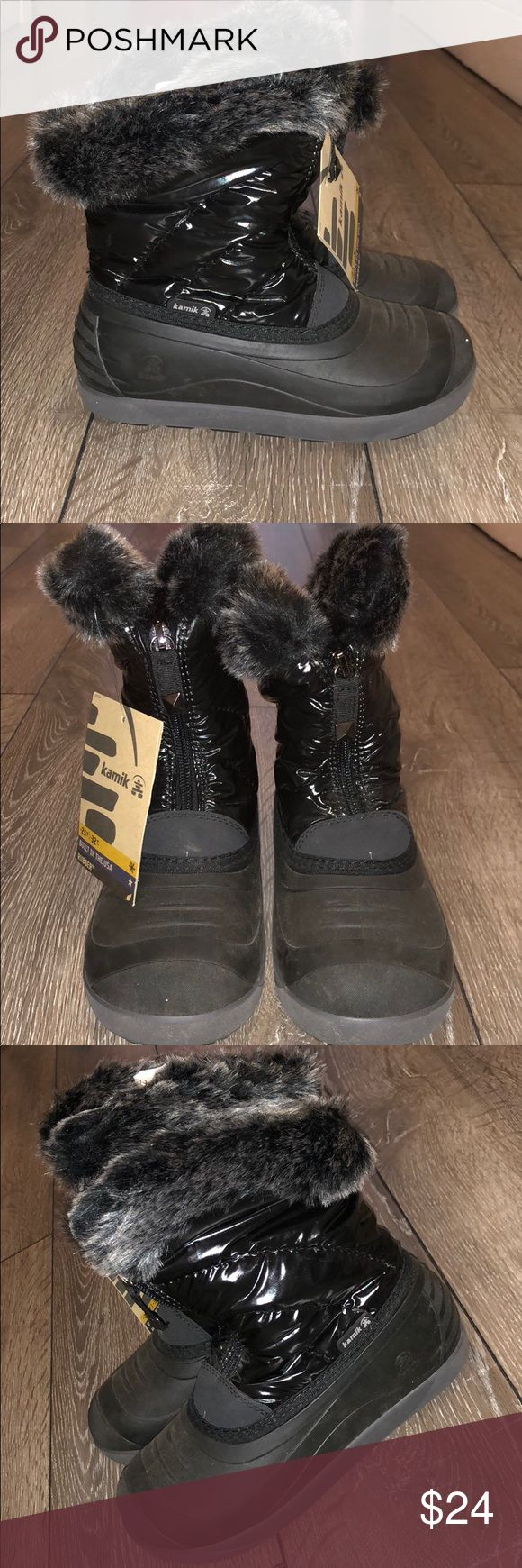 NWT Girls Black Kamik Boots These are new with tags & so cute. Winter boots that are lined with fur and comfy too. They are all black with a couple different types of material - rubber, faux fur and the material surrounding the zipper. Size 2 in girls!  These come from a smoke and pet free home. There is some dust on the Boots, but no signs or wear or damage at all. Kamik Shoes Rain & Snow Boots
