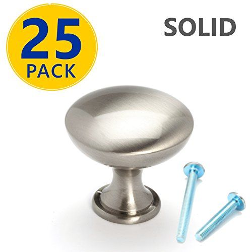 25 Pack | SOLID Brushed Nickel Round Cabinet Knobs: Modern Euro Style Stainless Steel Finish Kitchen Cabinet Hardware / Dresser Drawer Handles #Pack #SOLID #Brushed #Nickel #Round #Cabinet #Knobs: #Modern #Euro #Style #Stainless #Steel #Finish #Kitchen #Hardware #Dresser #Drawer #Handles