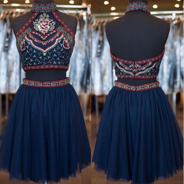 Two piece homecoming dress,Navy blue homecoming dress,open back party dress,short prom dress with embroidery