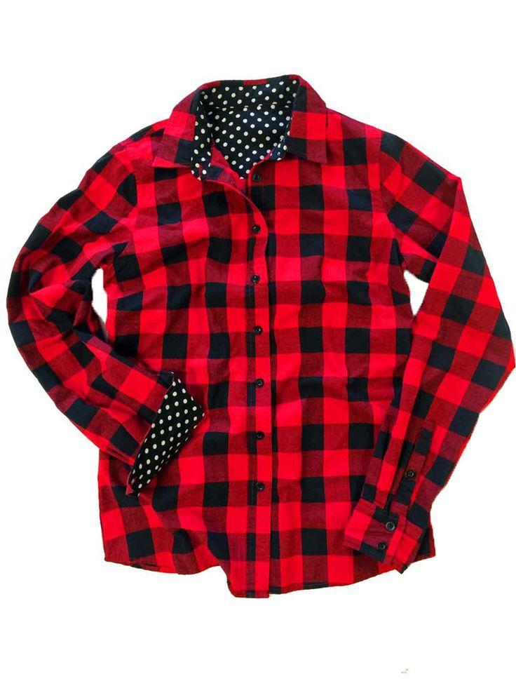 Red Plaid Polka Dot Long Sleeve Shirt