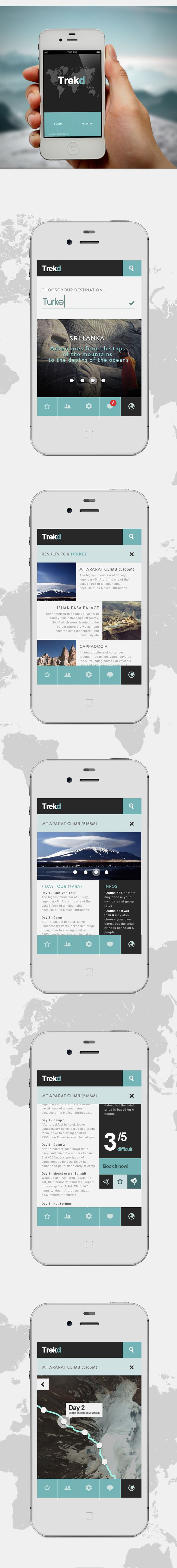 App | Trekd Concept by Thomas Le Corre  I like the black and white and the use of ONE other color. In this scheme. I like turquoise. It seems vintage and aged. The look I am going for.