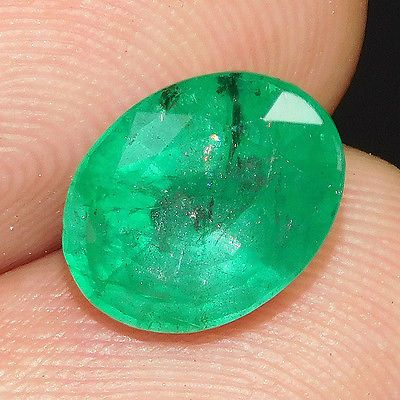 … 2.60 ct 100% RARE Gem Oval Cut Untreated Zambian Emerald Loose Gemstones 2