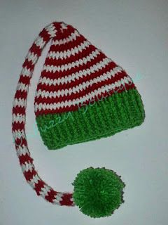 Busting Stitches: Santa's Little Elf Hat - free, easy pattern, newborn to adult sizes