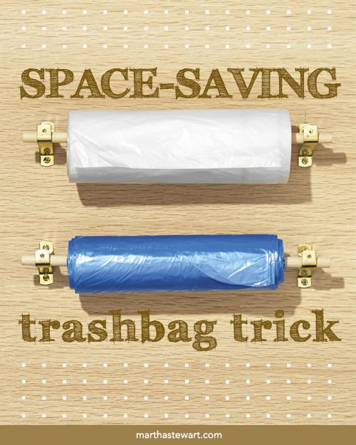 Space-Saving Trashbag Trick | Martha Stewart Living - Save space under the sink by hanging trash and recycling bags inside the cabinet door -- you'll also know at a glance when you're running low.