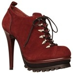 Why do I love shoes like this?  High heeled red lumberjack boot?