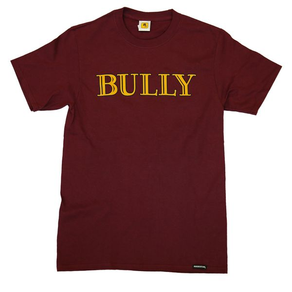 Switching gears from the traditional Bullworth blue, this soft maroon tee features the iconic Bully logo on the front, a Rockstar Games logo just below the neck line on the back, and a Rockstar Games pull tag at the waist.