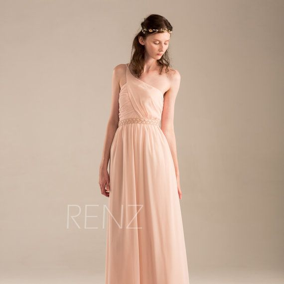 2015 Peach Bridesmaid dress Blush Pink Wedding dress by RenzRags