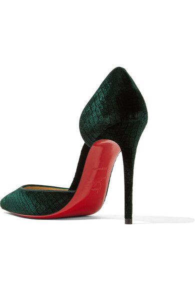 Christian Louboutin Iriza 100 Croc-effect Velvet Pumps - Emerald ... ed559edd7ebf