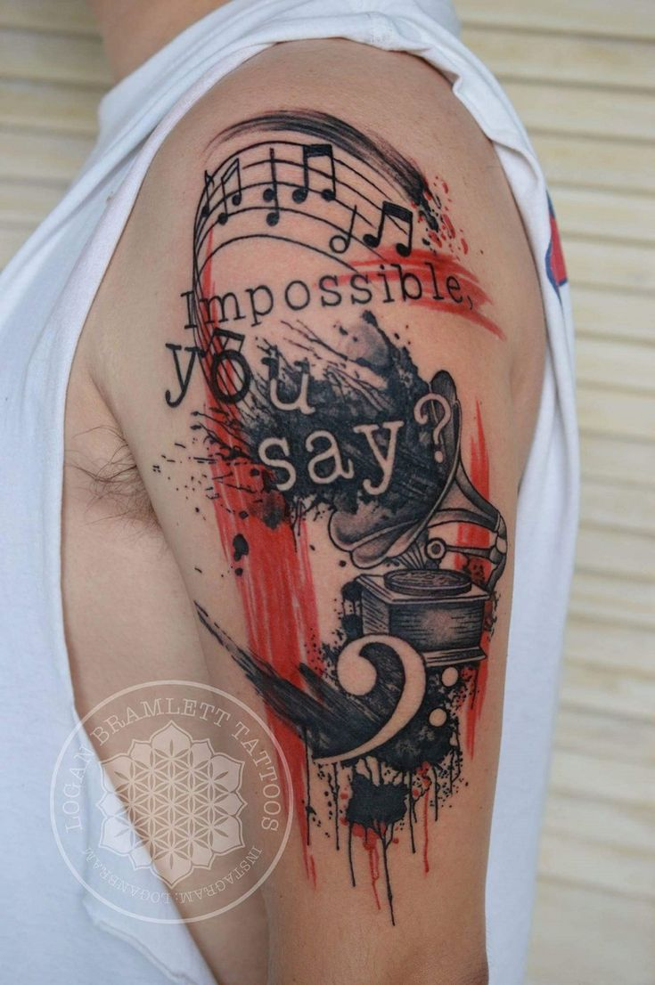 Memorial tattoos egodesigns - Gentle Musical Tattoo On Wrist Music Notes Behind The Ear Tattoo Tree Guitar Arm Tattoo For Men