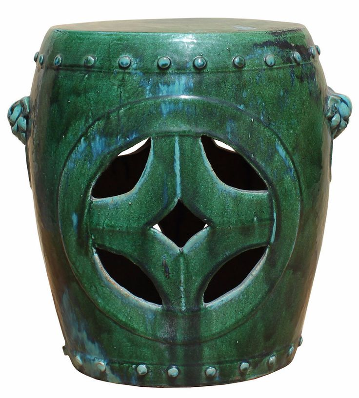 Chinese Distressed Turquoise Green Round Clay Ceramic Garden Stool cs2850S