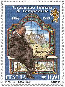 Giuseppe Tomasi di Lampedusa -francobollo emesso nel cinquantenario della morte
