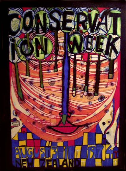 "Hundertwasser, ""Conservation Week"" original poster with foil"