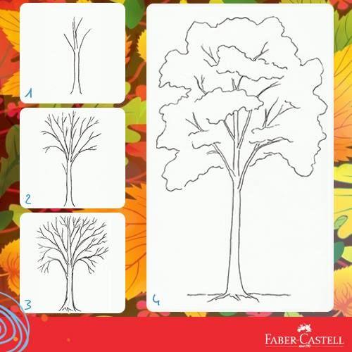 Step by step draw a tree