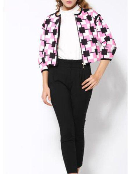 Fuchsia Zipper Short Coat to be fashion woman