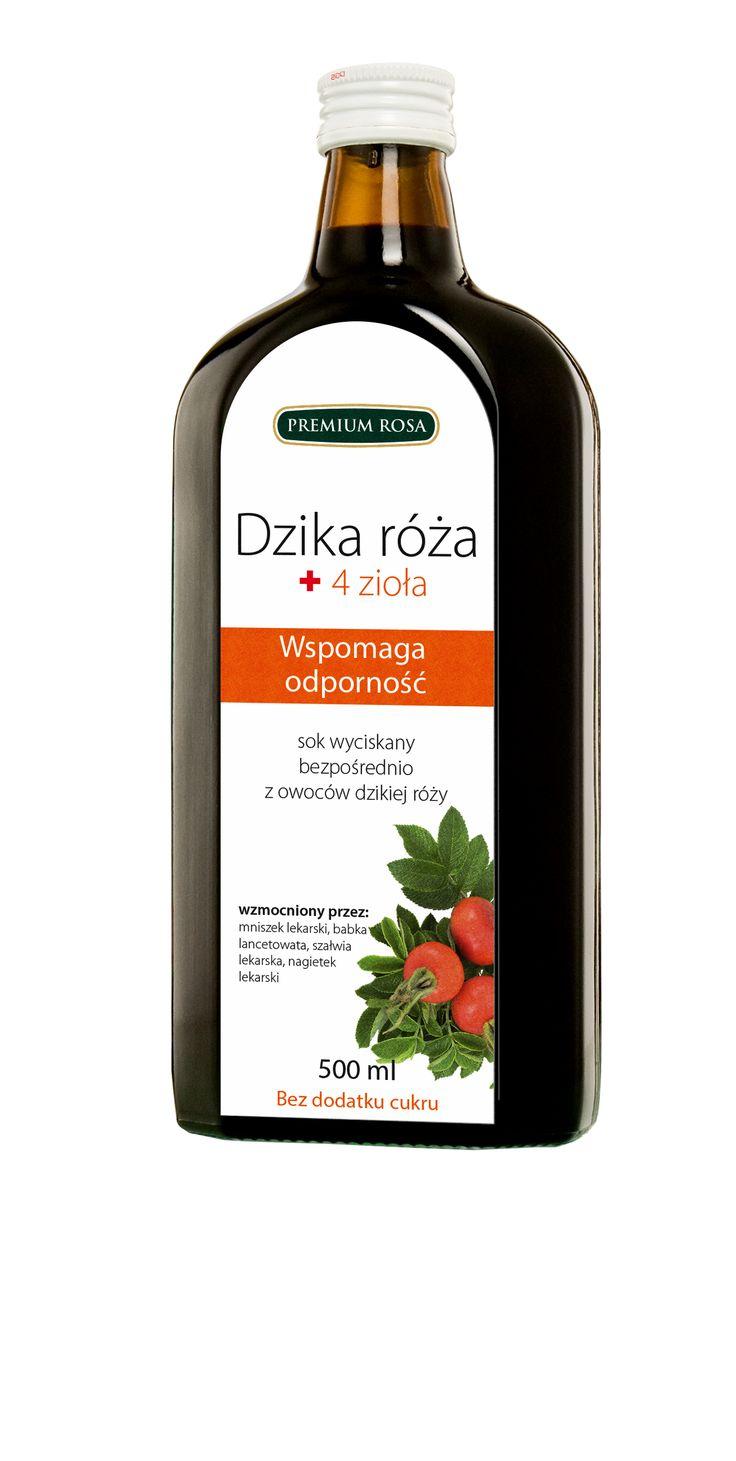 Wyciąg z Owoców Dzikiej Róży + 4 zioła Wspomaga odporność / sok z owoców dzikiej róży + mniszek lekarski, babka lancetowata, szałwia lekarska , nagietek lekarski