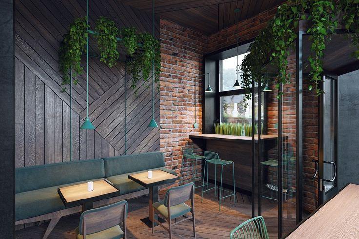 Для обивки мебели и декорирования светильников дизайнеры использовали насыщенный бирюзовый оттенок, эффектно контрастирующий с кирпичной кладкой на стенах кофейни.