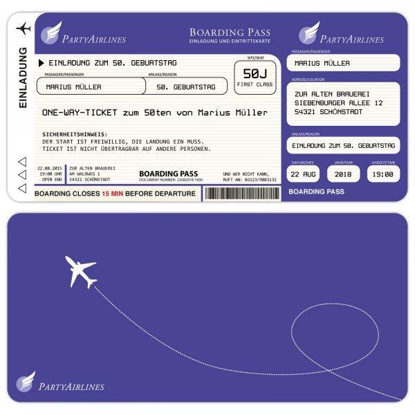 Einladungskarten Zum Geburtstag Als Flugticket U2013 Lila    Kartenparadies Koeln.de   Individuelle Einladungskarten Für Hochzeiten,  Geburtstage Und Viele ...