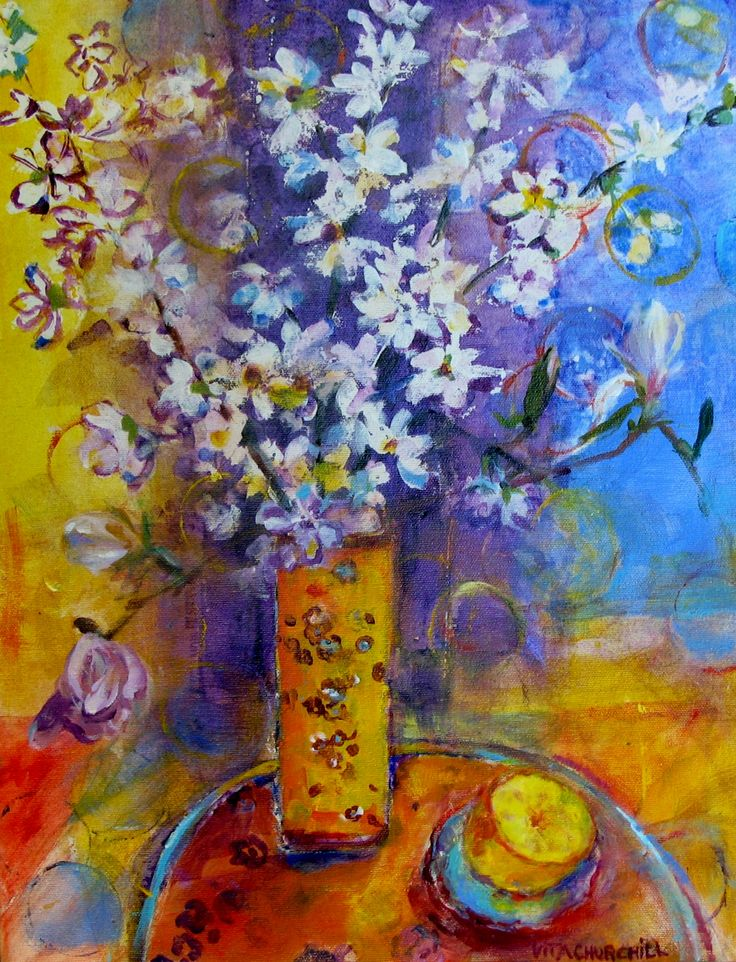 Apple Blossoms with Still Life.  An acrylic painting.  SOLD