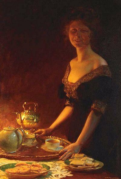Charles Courtney Curran (1861-1942) - Tea Time, 1916