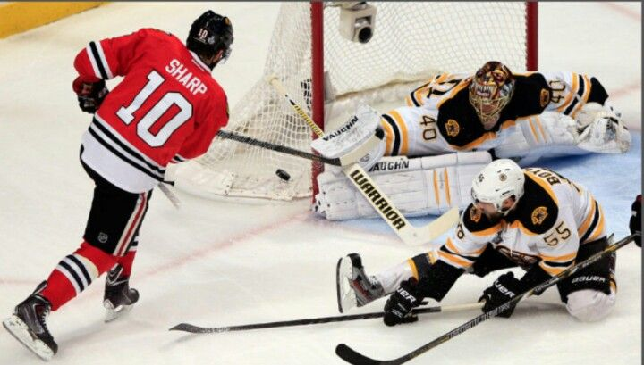 Tuukka Rask comes up big against Patrick Sharp and the Hawks during the Finals 2013.