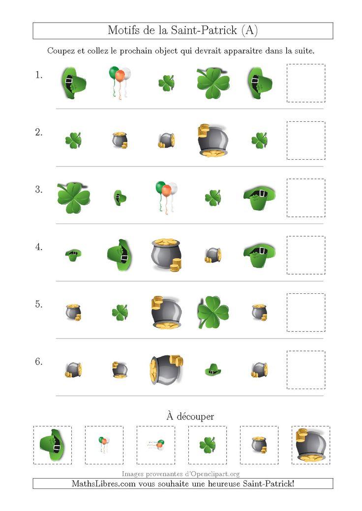 Motif d'Images de la Saint-Patrick avec la Forme, la Taille et la Rotation Comme Attributs (A) #mathslibres