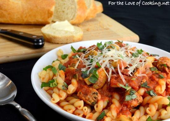 Sausage, Mushroom, and Basil Marinara over Gemelli