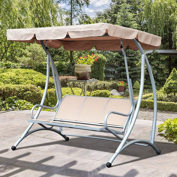 3 Person Steel Outdoor Patio Swing Chair With Adjustable