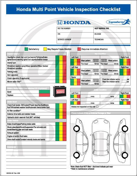 Ford multi-point inspection report card pdf