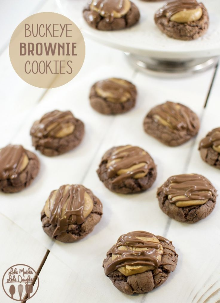 Buckeye Brownie Cookies - These cookies are perfect for all chocolate and peanut butter lovers, plus their so easy to make because the base of the cookie is made from a brownie mix!