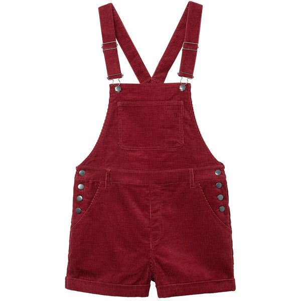 Monki Hanna cord dungarees ($39) ❤ liked on Polyvore featuring jumpsuits, rompers, shorts, overalls, dresses, dungarees, winter berry, red bib overalls, short rompers and short overalls